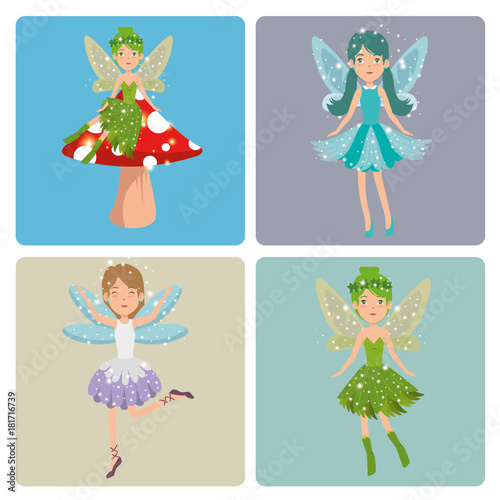 Poster Pony set of sweet and cute fairies cartoon vector illustration graphic design