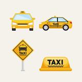 taxi service set transport order internet elements vector illustration - 181721117