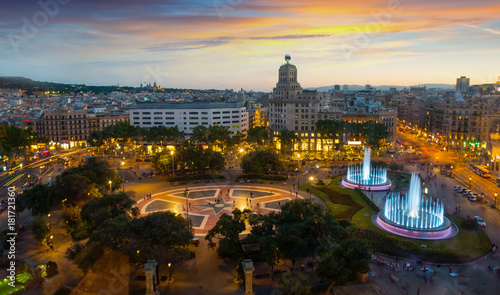 In de dag Barcelona Night view of Plaza Catalunya, Barcelona
