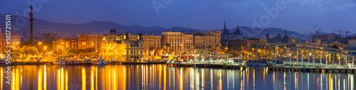 Aluminium Barcelona Port Vell during morning Barcelona, Spain