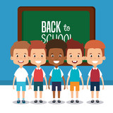 little students with chalkboard avatars characters vector illustration design