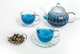 Fototapety 青いハーブティー Butterfly Pea blue flower herbal tea