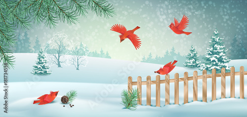 Vector Winter Landscape - 181734558