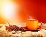 Cup hot coffee and sunlight with copy space for text - 181743543