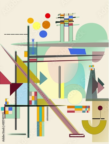 Fototapeta abstract composition , fancy geometric colorful shapes on beige background