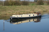 canal boat on inland waterway, Holiday and leisure   - 181751329