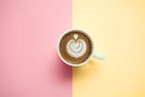 coffee cup with cappuccino on pastel background  top view - 181751589