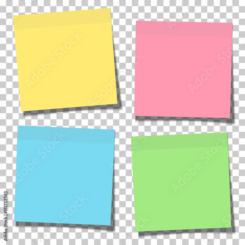 Set of yellow, green, blue and pink paper sticky notes glued to the surface isolated on transparent background