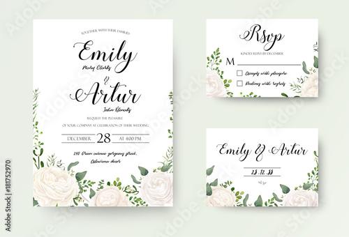 Wedding Invitation floral invite Rsvp cute card vector Designs set: white garden Ranunculus, Rose flower, fern, eucalyptus, mistletoe green leaf & berry romantic trendy greenery forest rustic bouquets