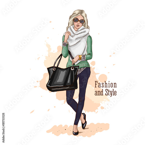 Fashion vector illustration. Hand drawn sketch. Stylish young woman in trendy clothes with a bag oversized. Blond hair. Sunglasses.