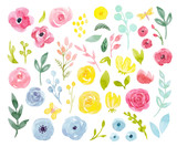 Watercolor abstract floral vector set - 181755514