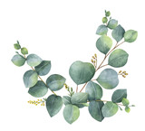 Watercolor vector wreath with green eucalyptus leaves and branches. - 181756750