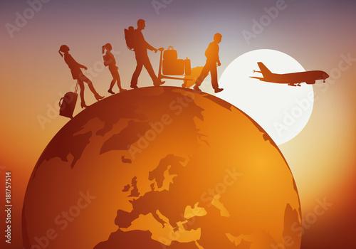 Sticker voyage - voyager - globe - famille - tourisme - touriste - voyageur - avion - aéroport - vacances