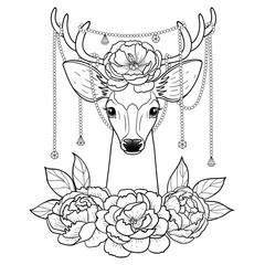 Deer and Peonies Outline Pattern