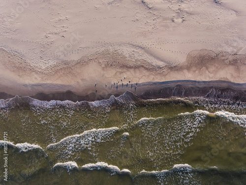 Plexiglas Bleke violet Aerial view over a Baltic Sea shore line in Pape, Latvia. During summer season.