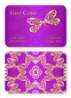Luxury violet gift card with dragonfly ornament. Front side with golden embossed relief, back side with gold circle ornament decoration