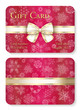 Luxury red Christmas gift card with white snowflakes in background and cream ribbon as decoration