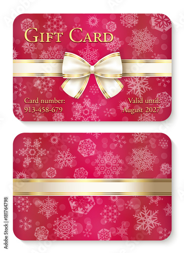 Zdjęcia na płótnie, fototapety, obrazy : Luxury red Christmas gift card with white snowflakes in background and cream ribbon as decoration