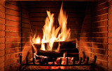 Logs burning in a fireplace - 181765992
