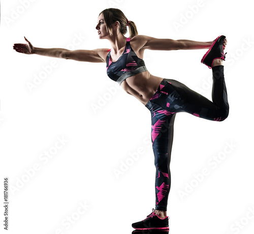Plexiglas Fitness one caucasian woman exercising pilates fitness exercises isolated silhouette on white background