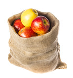 a sack with apples isolated on a white background - 181767793