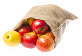 a sack with apples isolated on a white background - 181767954