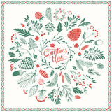 Christmas Floral Design Elements with Shabby Texture - 181767977