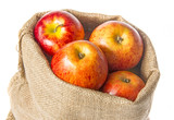 a sack with apples isolated on a white background - 181768129