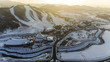 PYEONGCHANG, SOUTH KOREA: Winter view of ski resort in Pyeongchang, South Korea. Sports facility for the Winter Olympic Games in 2018