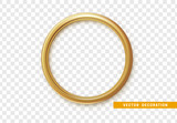 Golden round frame isolated on transparent background. - 181772972