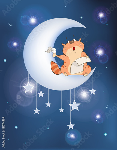 Staande foto Babykamer Illustration The Cat on the Moon