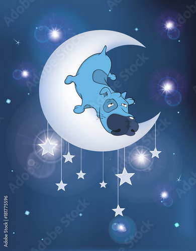 Deurstickers Babykamer Illustration The Dog on the Moon