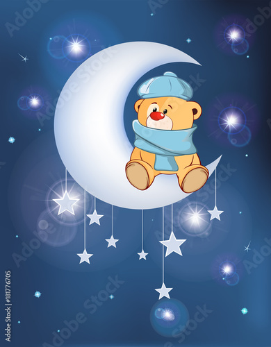Staande foto Babykamer Illustration The Dog on the Moon