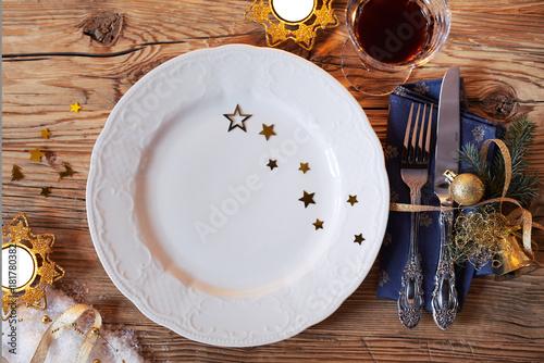 Rustic decorative Christmas table setting