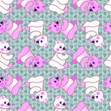 Cute teddy bear pattern with a lollipop on the hearts background. Valentine´s day pattern.
