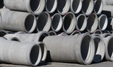 Concrete round big pipes stacked - 181784978