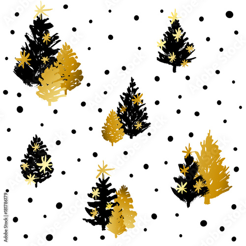 Cotton fabric Seamless pattern with black and golden Christmas trees