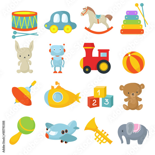 Fototapeta Preschool children toys isolated vector cartoon set