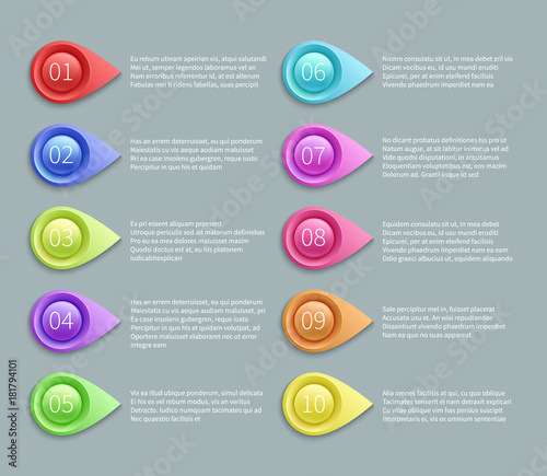 Numbered text vector layout with 3d pointing bullets