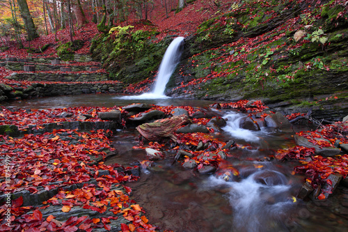 Little waterfall in the beech forest in the fall.