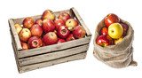 apples in a wooden box and in a sack - 181800557
