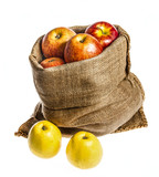 a sack with apples isolated on a white background - 181800912