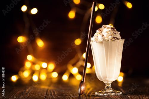 Deurstickers Milkshake Sweet milkshake in Christmas composition