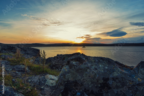 Landscape with sundawn at White Lake, Altay, Russia Poster