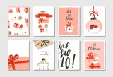 Hand drawn vector abstract big Merry Christmas time and New Year cartoon cards collection set with cute illustrations,surprise gift boxes,dogs and modern calligraphy isolated on white background - 181810720