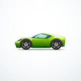 Vector green cartoon sport car. Side view