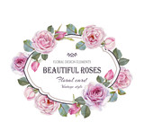 Vintage floral greeting card with a frame of watercolor roses. Illustration