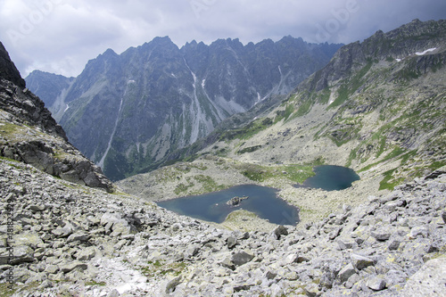 Foto op Canvas Bergen Hiking trail to Rysy mount, aeria view to mountain tarn Big frog