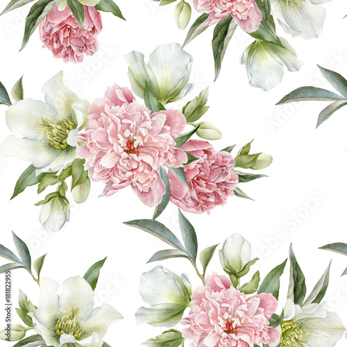 Floral seamless pattern with peonies and hellebore - 181822955