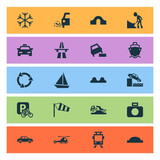 Transportation Icons Set With Tanker, Riverbank, Windsock And Other Recycle  Elements. Isolated Vector Illustration Transportation Icons.